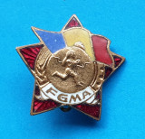 Insigna patriotica veche anii 1950 Gata pentru Munca si Aparare - varianta Stea