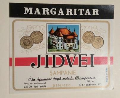 eticheta veche romaneasca Sampanie Margaritar Jidvei '80