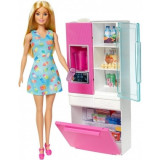 Barbie - set mobilier bucatarie cu papusa blonda