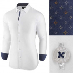 Camasa pentru barbati alb albastru slim fit casual Business Class Extra