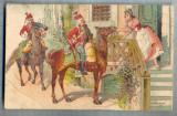 AX 62 CP VECHE INTERBELICA - MILITARI CALARE IN VIZITA LA O DOAMNA -CIRC.1909, Franta, Circulata, Printata