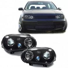 Faruri sport tuning VW Golf 4 look R32 negru cu lupa NOU