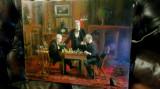 44. Jucatorii de sah tablou cu barbati jucand sah. Pictura ulei pe panza 54x45cm, Portrete, Realism