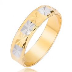 Inel lucios, auriu cu argintiu, cu un model de diamant - Marime inel: 60