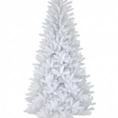 Brad de Craciun artificial alb Deluxe, suport inclus, inaltime 220 cm