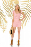 Pantalon scurt PrettyGirl roz prafuit casual mulat cu talie inalta din bumbac neelastic