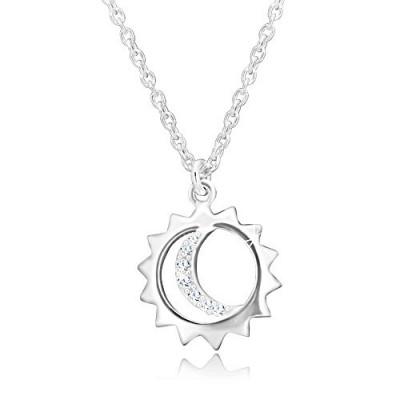 Colier din argint 925 - pandantiv pe lanț, contur de soare și lună cu zirconii foto