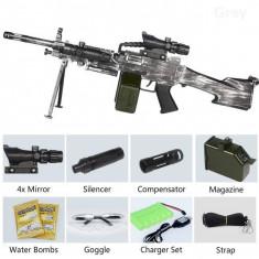 KIT COMPLET PUSCA MITRALIERA M249,ELECTRICA,LUNETA,BIPOD,BILE INCLUSE,90CM.NOUA!
