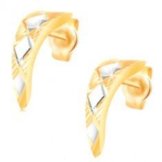 Cercei din aur de 14K – arc strălucitor cu romburi din aur alb