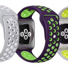 Set 2+1 Gratis, Curele Apple Watch iUni 42 mm Silicon Argintiu-Galben, Purple-Green, Argintiu-Alb