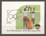 Madagascar 1992 Sport, Olympics, Barcelona, Volleyball, imperf. sheet, MNH S.088