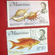 2 Timbre Fauna Acvatica -Mauritius 1969 , 50C si 10 Rupii ,stampilate