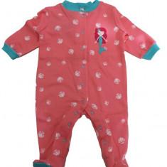 Salopeta / Pijama bebe cu sirena Z09, 1-2 ani, 1-3 luni, 12-18 luni, 3-6 luni, 6-9 luni, 9-12 luni, Roz