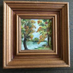 Pictura,tablouri miniaturale,vechi,ulei pe panza,set de 3,rama din lemn