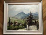 Tablou,pictura in ulei pe panza,spaclu,semnat,sat in Tirol, Peisaje, Altul