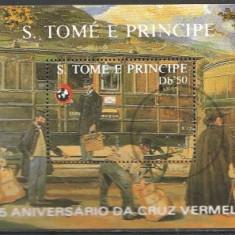 Sao Tome 1988 - vagon, colita stampilata