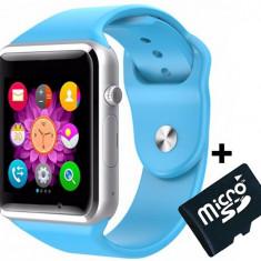 Smartwatch cu Telefon iUni A100i, BT, LCD 1.54 Inch, Camera, Albastru + Card MicroSD 4GB Cadou