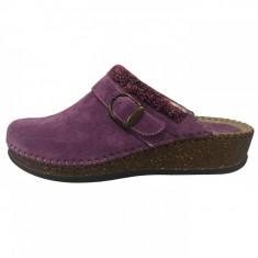 Papuci de casa dama, din piele naturala, marca Walk, 1124-16990-19, mov , marime: 38
