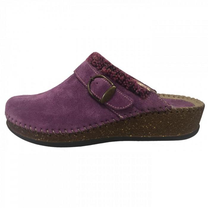 Papuci de casa dama, din piele naturala, marca Walk, 1124-16990-19, mov 38
