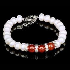 Bratara cu Perle Naturale si Argint 925, Agata Red