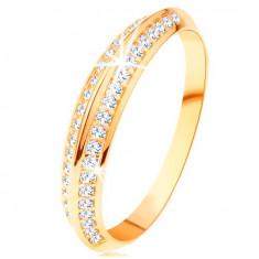 Inel de aur galben de 14K, braţe în formă oblică, linii netede lucioase - Marime inel: 49