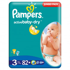 Scutece Pampers Active Baby-Dry 3 Midi, 82 buc, 4 - 9 kg