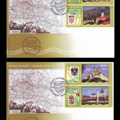 2010 Romania, 2 FDC Stemele Dunarii I, Heraldica LP 1863, plicuri prima zi