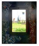 Oglinda Rosemaling- fond albastru ultramarin si brun