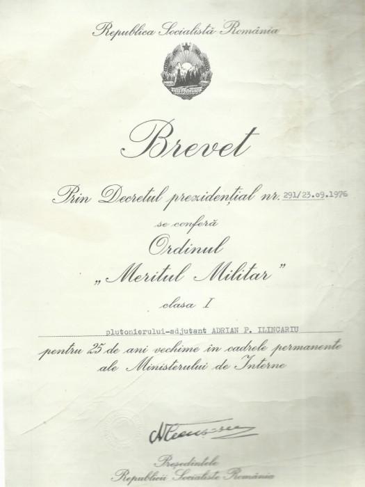 AMS* -  ORDINUL MERITUL MILITAR CLASA I 1976 CU CUTIE SI BREVET