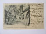 Rara! Carte postala vechiul Paris-Tarabele stradale din Rempart,circulata 1901, Franta, Printata