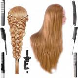 Cap practica manechin salon frizerie coafor Lung Natural 80 cm Blond 6 Piepteni