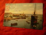 Ilustrata TCV Port Said - Nava si barci Ocup. franceza in Egipt 1911, Circulata, Printata