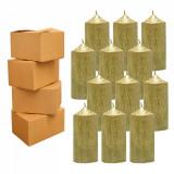 4 Baxuri 12 Lumanari Aurii, cilindru 13 CM