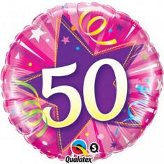 Balon aniversar 50 ani roz din folie metalizata 43cm