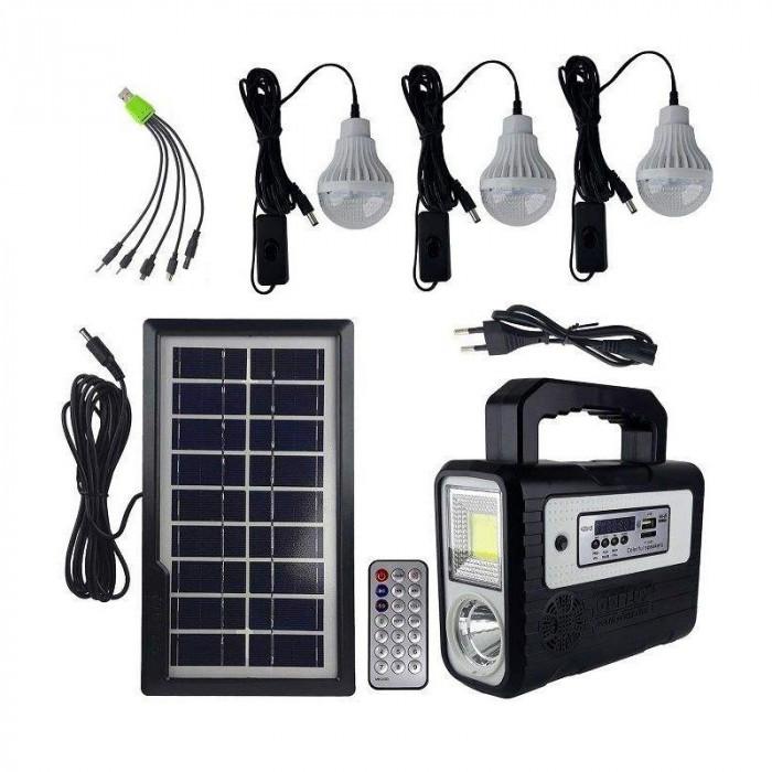 Kit solar portabil Gdplus GD-8028COB, USB, 3 becuri, acumulator reincarcabil