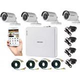 Cumpara ieftin Kit supraveghere video 4 camere Hikvision exterior 20m IR, accesorii incluse