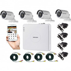 Kit supraveghere video 4 camere Hikvision exterior 20m IR, accesorii incluse