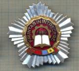"""Y 823 INSIGNA - ,,FRUNTAS IN INTRECERE"""" -1980 - PENTRU COLECTIONARI"""