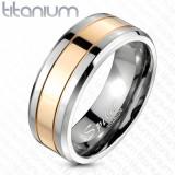Verigheta din titan cu dunga de culoare roz-auriu, 8 mm - Marime inel: 65