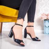 Sandale cu toc dama negre Lisada