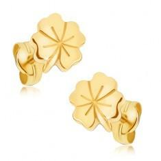 Cercei lucioși din aur - trifoi norocos, caneluri decorative