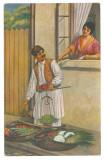 4171 - ETHNIC, Vegetables Seller, Romania - old postcard - used - 1916