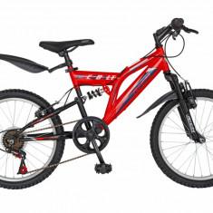 Bicicleta copii MTB FS 20 FIVE Tauros cadru otel culoare rosu negru varsta 7 10 ani
