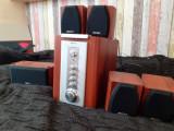 Sistem audio Mercury 100 w, 5.1, maro, boxe lemn, stare foarte buna