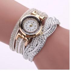 Ceas dama auriu bratara alba piele eco cristale superb + cutie  cadou