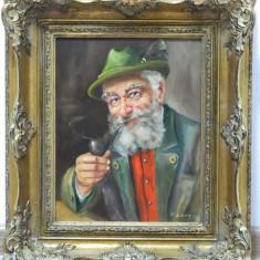 Tablou / pictura ulei pe panza semnat si inramat - VANATOR CU PIPA, Portrete, Realism
