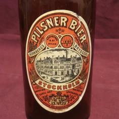 Vintage / Design - Sticla veche de bere cu eticheta si dop / Pilsener Bier !