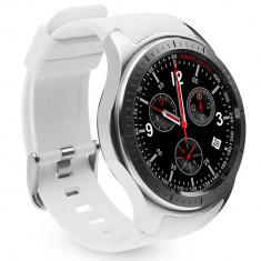 Smartwatch Telefon cu Android iUni DM368, AMOLED 1.39 inch, Wi-Fi, 3G, GPS, Bluetooth, Monitorizare Puls, Alb