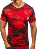 T-shirt pentru bărbat cu imprimeu camuflaj-roșu Bolf 708