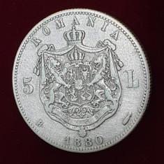 Moneda din argint 5 Lei 1880 semnatura Kullrich pe gat